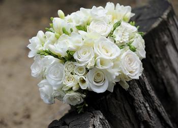 Buquê de casamento de rosas brancas