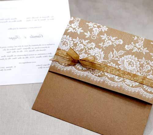 convite rústico envelope com laço