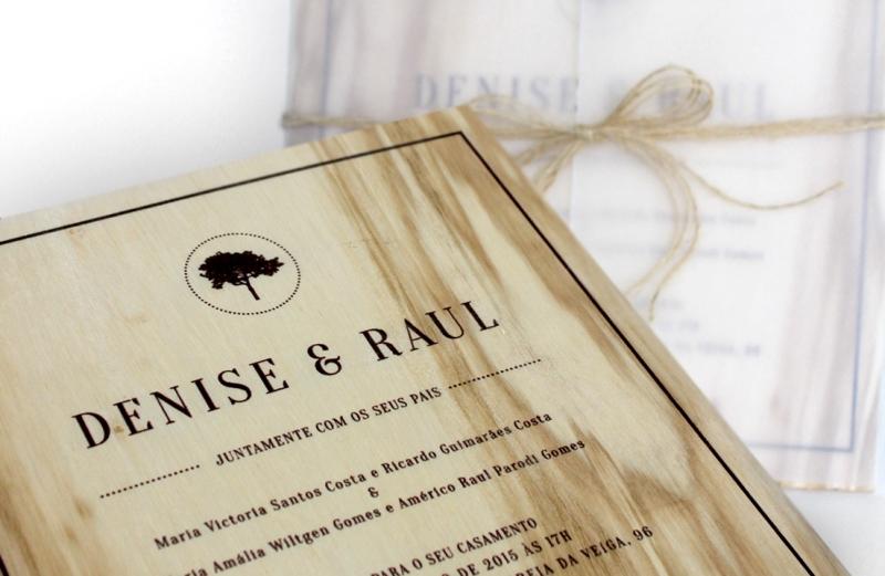 Convite de Casamento de madeira