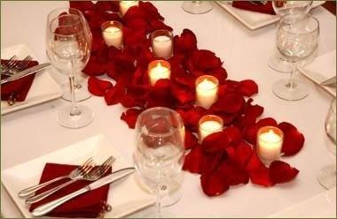 Decoração com rosas e velas