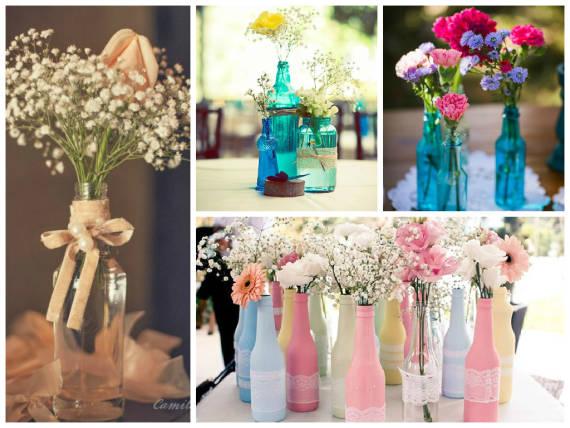 Decoração simples com garrafas e flores