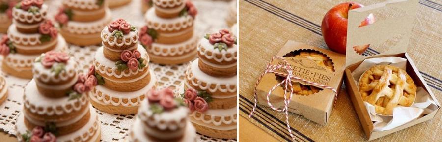 mini bolo e mini torta