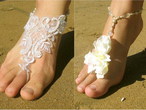 pulseiras para o pé das noiva pro casamento na praia