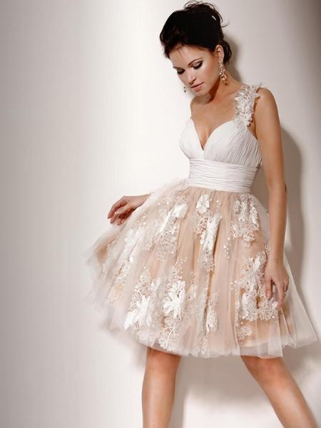 Vestido de noiva curto se mangas