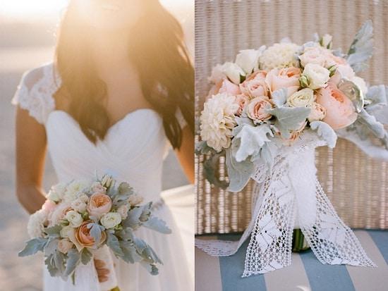 Buquê com flores de cor claras para Casamentos de dia