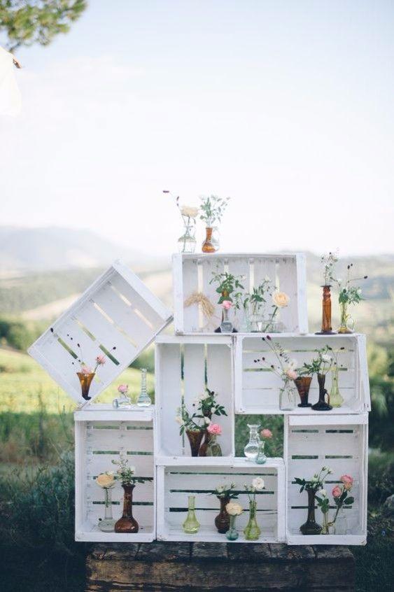 caixotes de feira como decoração
