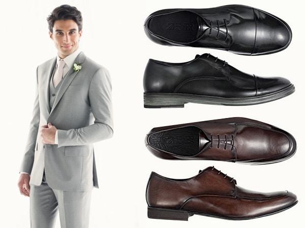 Terno cinza, sapatos pretos ou marrom