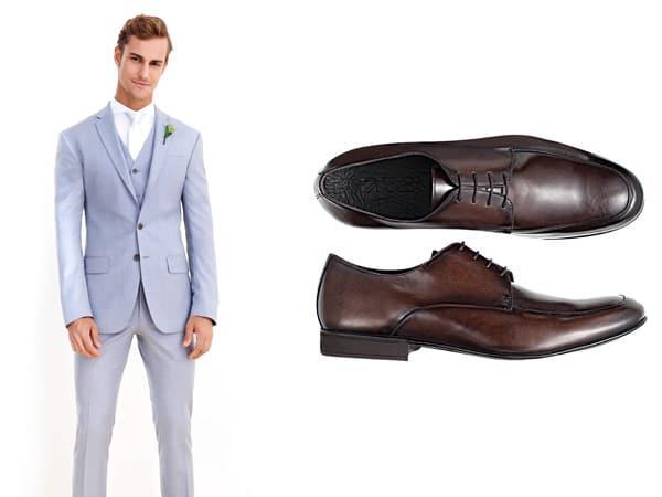 Terno azul sapatos marrom