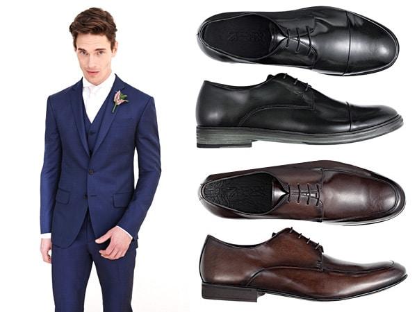 Ternos azul escuro sapatos pretos ou marrom