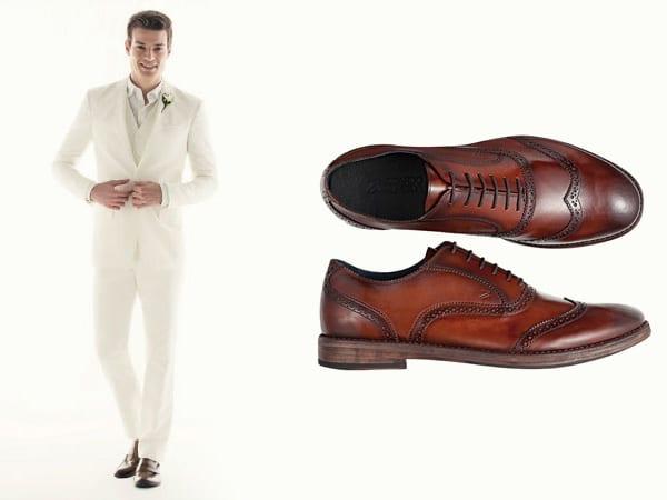 Terno branco sapatos marrom