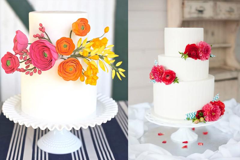 Flores é uma ótima sugestão de decoração deixa seu bolo mais charmoso