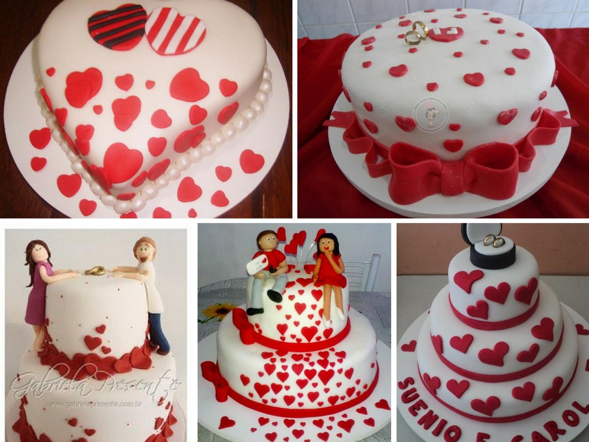 vários bolos lindos e decorados de noivados