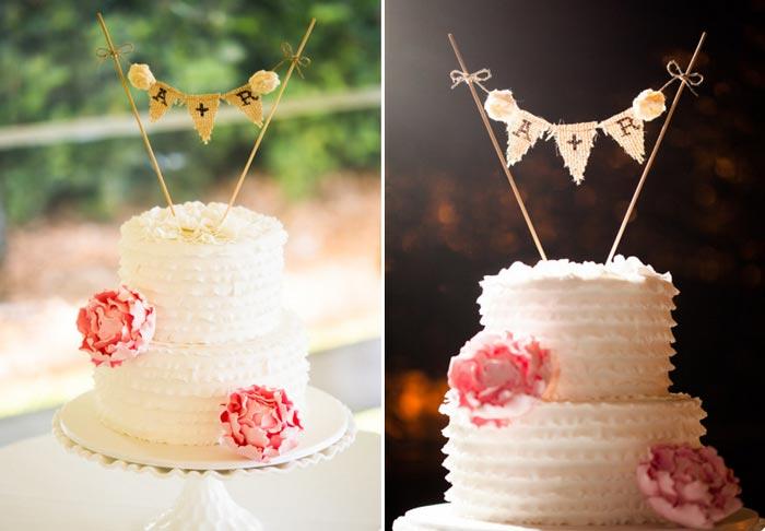 As bandeirinhas podem levar o nome dos noivos, iniciais e até mesmo frases.