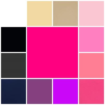 Exemplos de cores que você pode combinar com o rosa