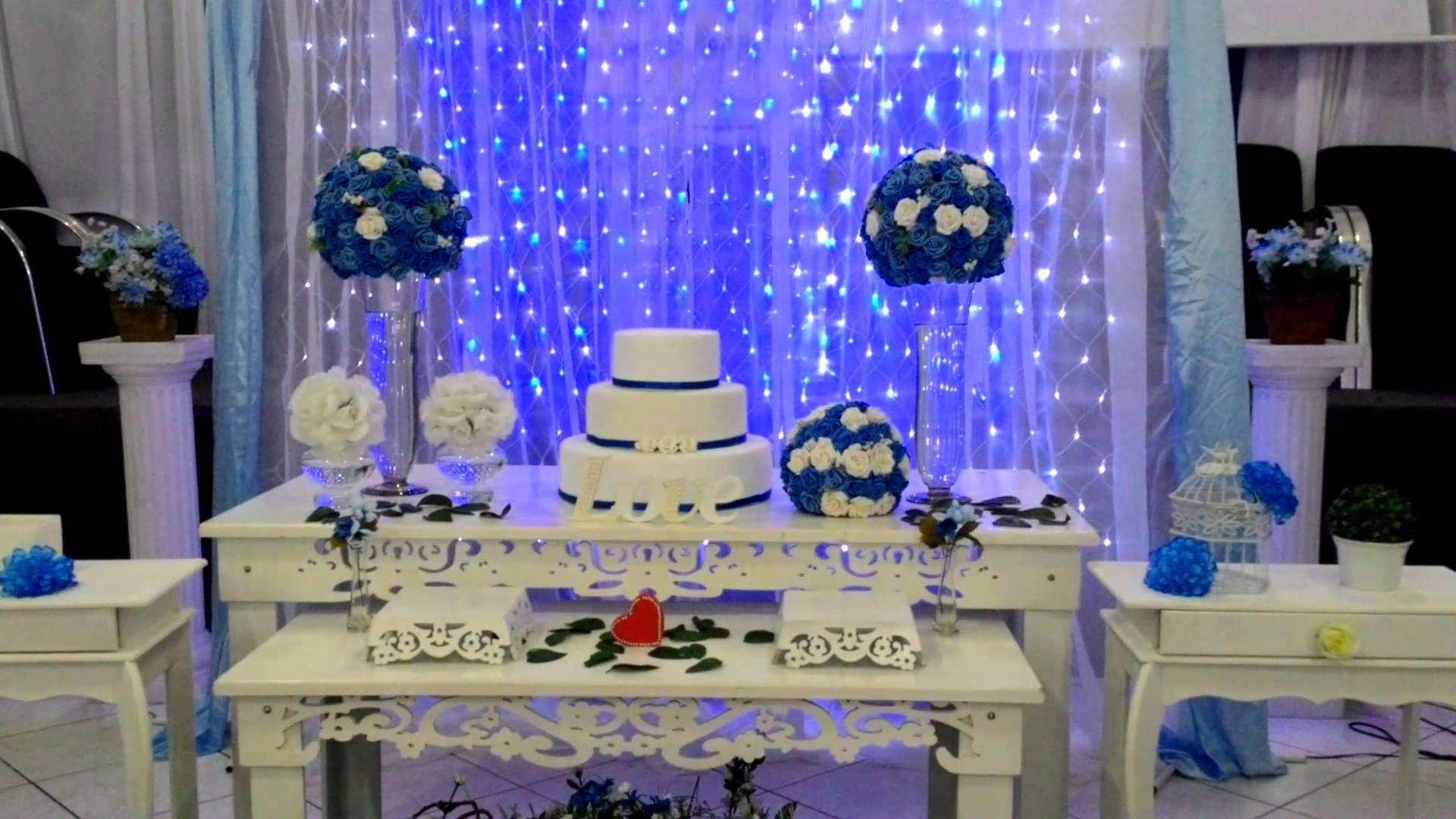 Decoração azul e branco é a mais usada e fica bem lindo