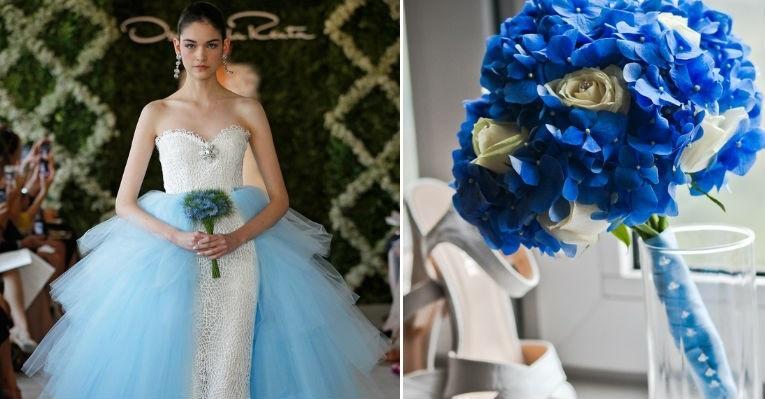 detalhes em azul para deixar ainda mais linda a noiva