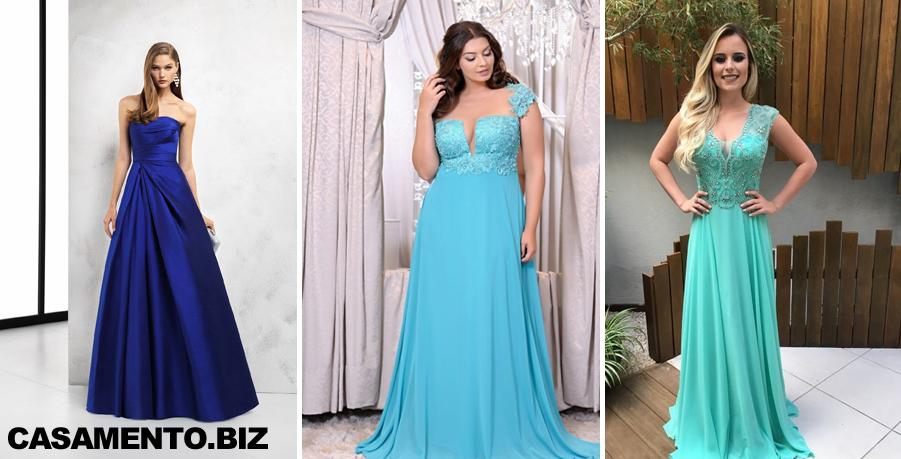 Modelo de vestido de madrinha azul