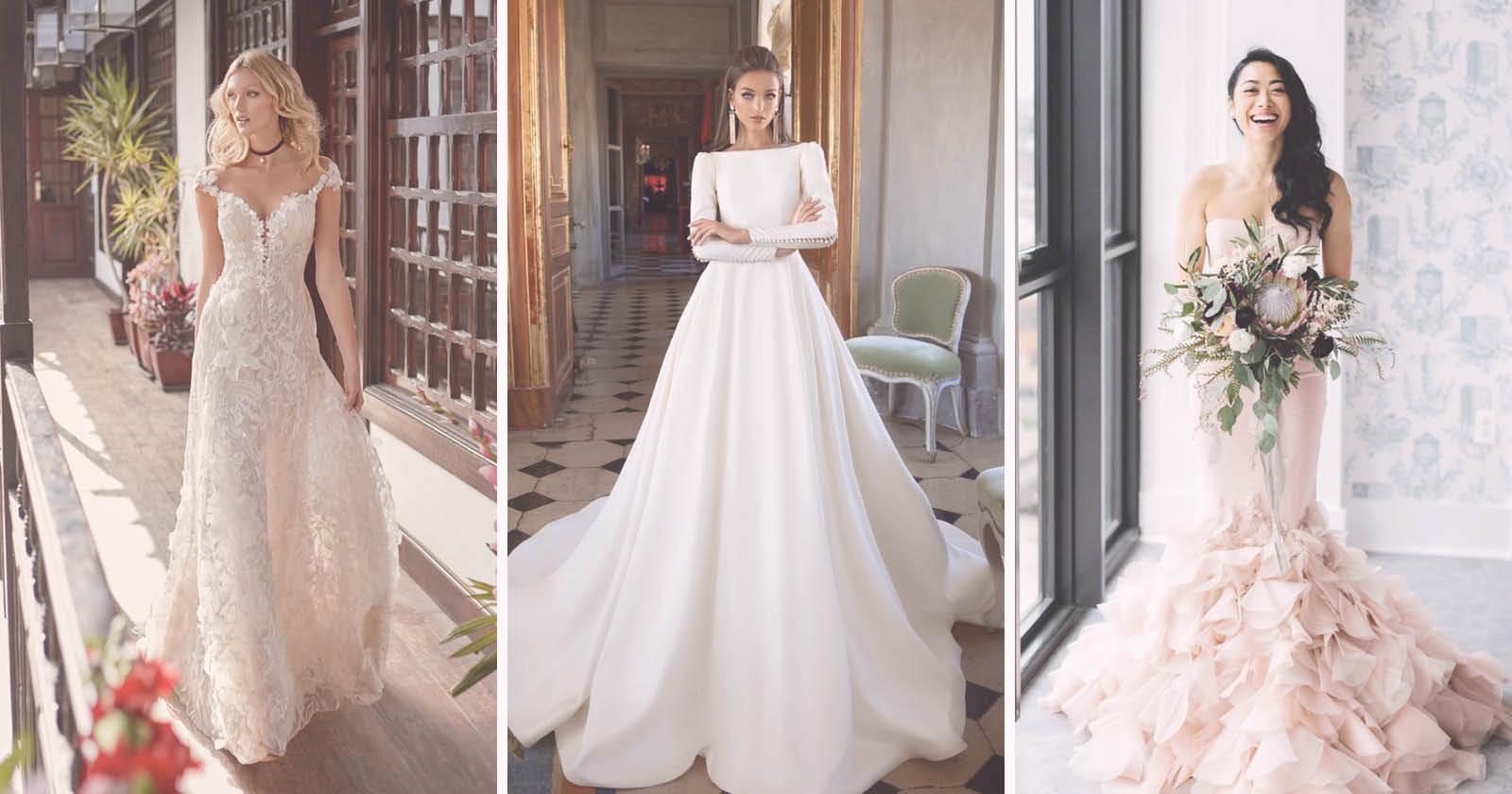 Na imagem vemos três fotos de 3 noivas com vestidos diferentes