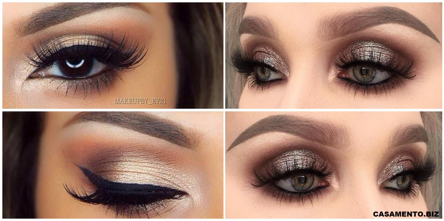 Dois tipo de maquiagens para os olhos e sobrancelhas