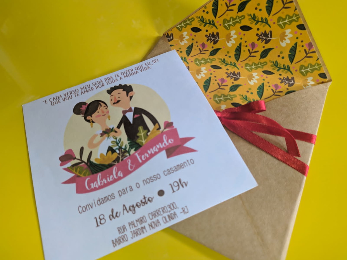 Convite de casamento com foto
