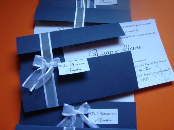 Convite de casamento azul