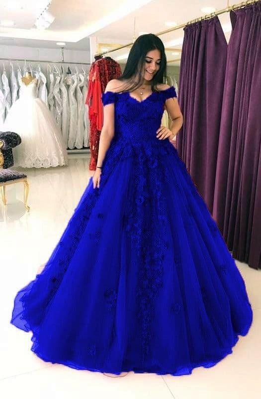 Vestido de noivado azul