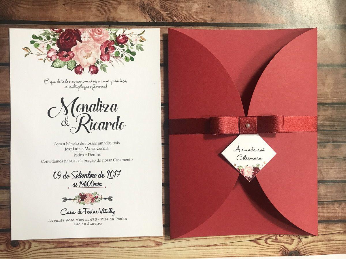 Convite de casamento marsala