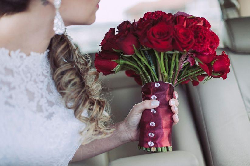 Buque de noiva vermelho