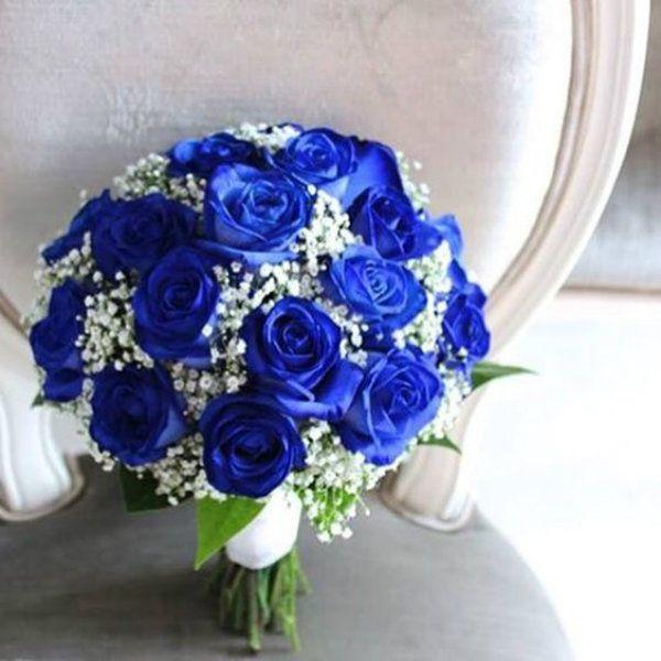Buquê de noiva azul